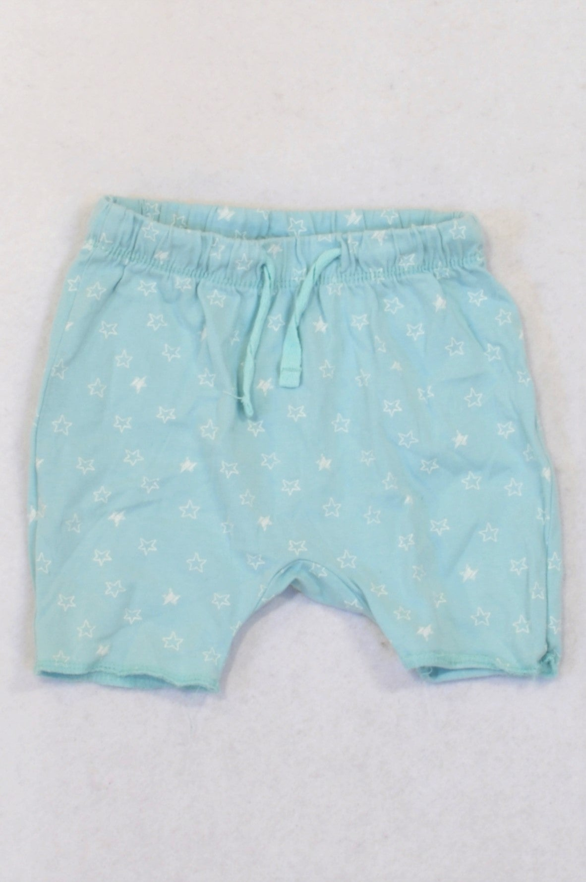 H&M Dusty Soft Blue Star Shorts Girls 0-3 months