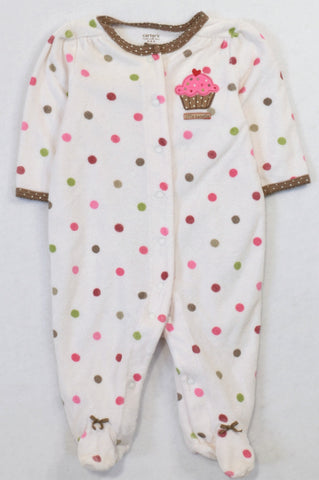 Carter's White Dotty Terry Cloth Cupcake Onesie Girls 0-3 months