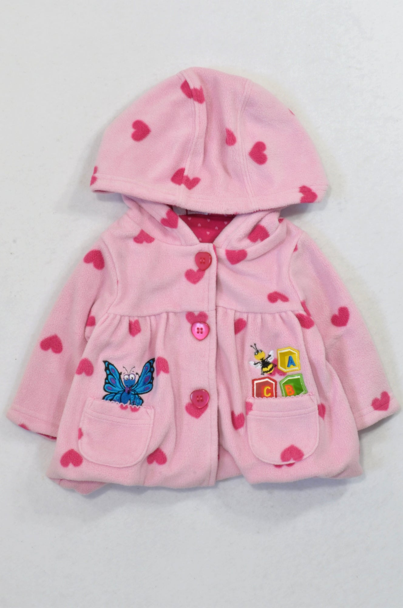 ABC Pink Fleece Heart Jacket Girls 3-6 months