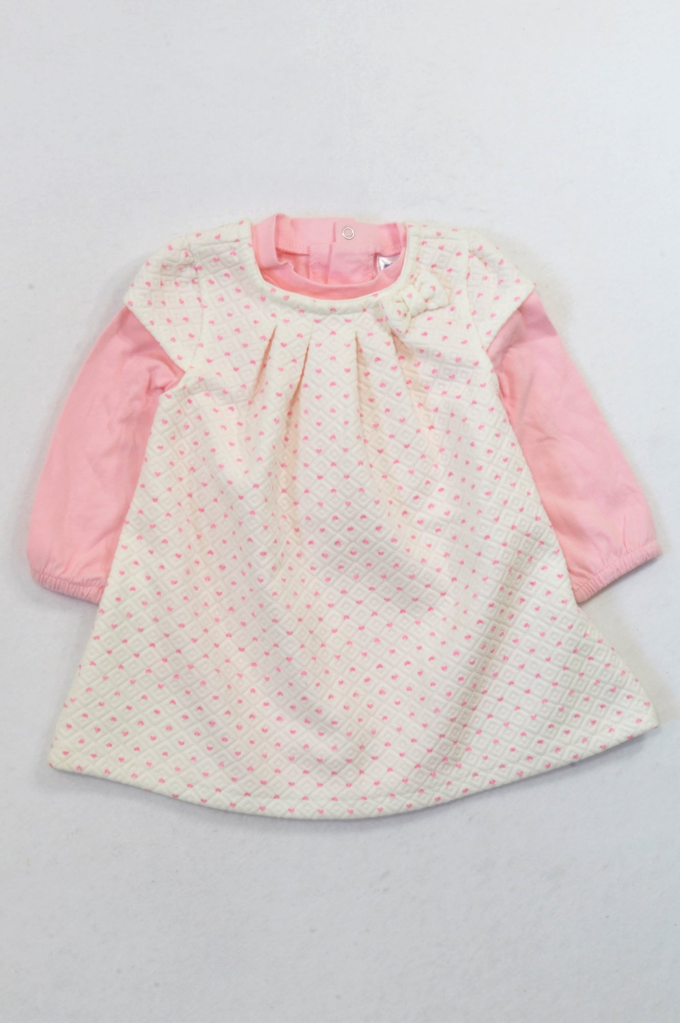 Ackermans Pink & White Heart Quilted Dress Outfit Girls 6-12 months