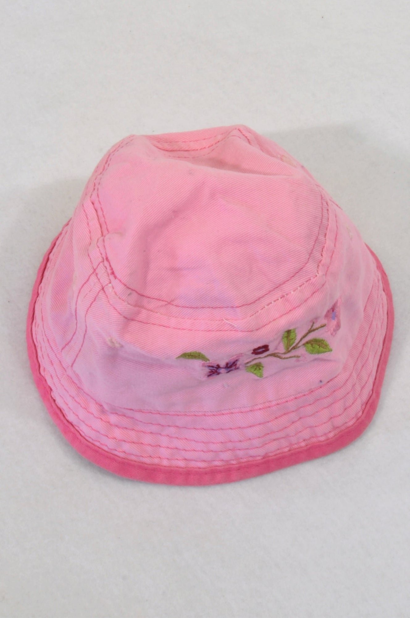 Woolworths Pink Embroidered Floral Hat Girls 3-6 months
