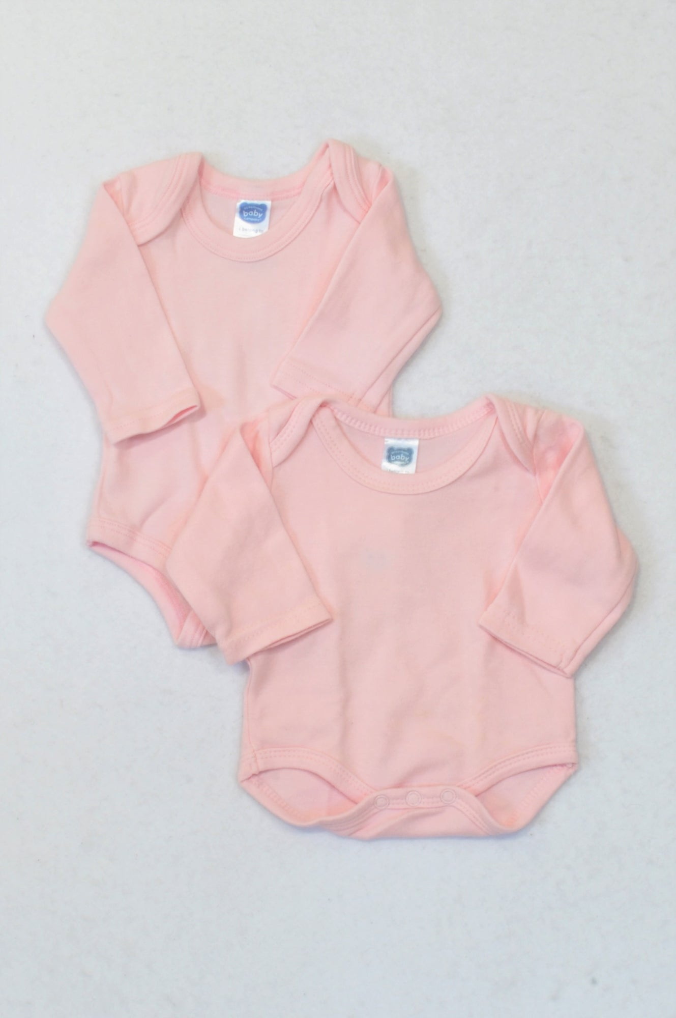 Ackermans 2 pack Soft Pink Long Sleeve Baby Grow Girls Tiny Baby