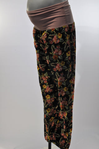 Jam-Jams Pink Banded Tropical Flower Maternity Pants Size M/L