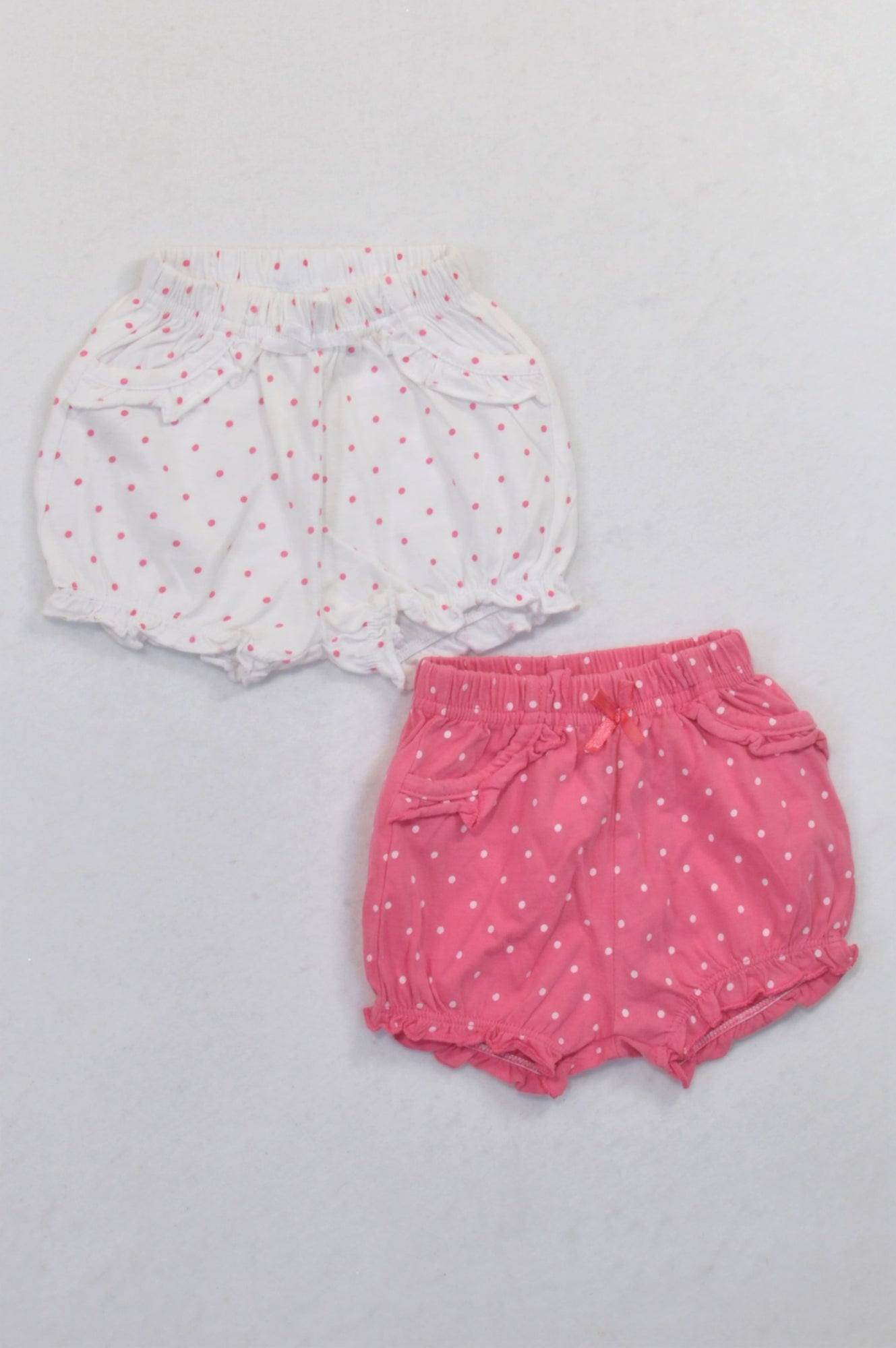 Ackermans 2 Pack White & Pink Bubble Shorts Girls 0-3 months