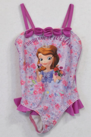 Woolworths Violet Floral Princess Sofia Swim Suit Girls 18-24 months