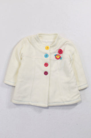 Woolworths Off White Multi Coloured Flower Coat Girls 6-12 months
