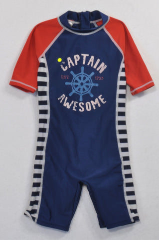 Woolworths Blue & Red Captain Awesome Swim Suit Boys 3-4 years