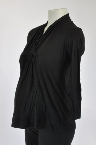 Du Date Basic Black Maternity T-shirt Size 10