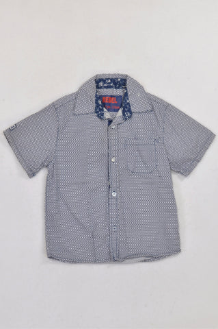 New Rebel Navy Geometric Collared Shirt Boys 4-5 years