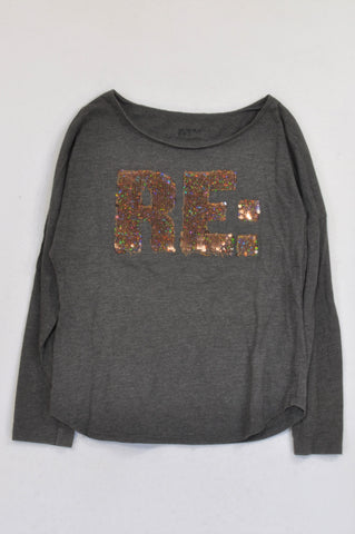 Woolworths Grey Sequin RE: T-shirt Girls 10-11 years