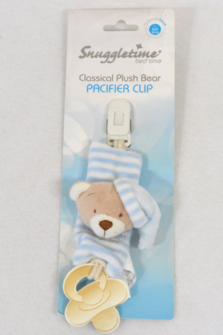 New Snuggletime Blue Plush Bear Dummy Clip Accessory Unisex N-B to 2 years