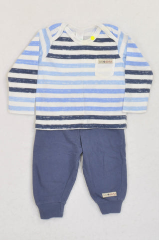 Naartjie Blue Heathered Stripe Outfit Boys 3-6 months