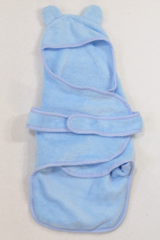 Blue Fleece Hooded Swaddle Blanket Boys N-B to 6 months