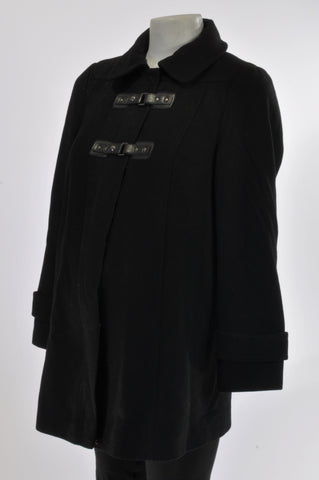 Marks & Spencers Black Wool Blend Buckle Maternity Coat Size 10-12