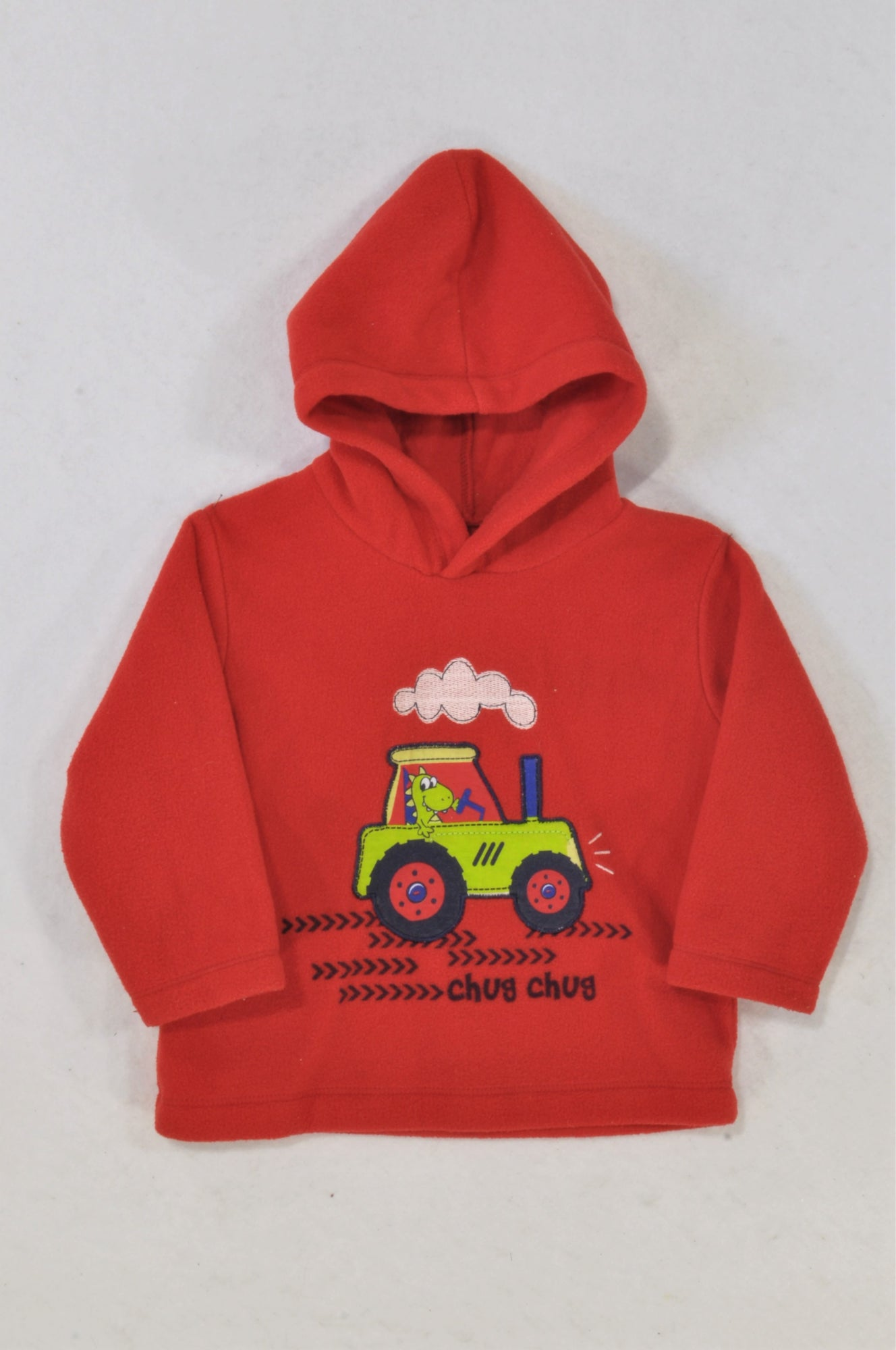 2ca71c4f4d45 Woolworths Red Fleece Dino Tractor Hoodie Boys 12-18 months – Once More