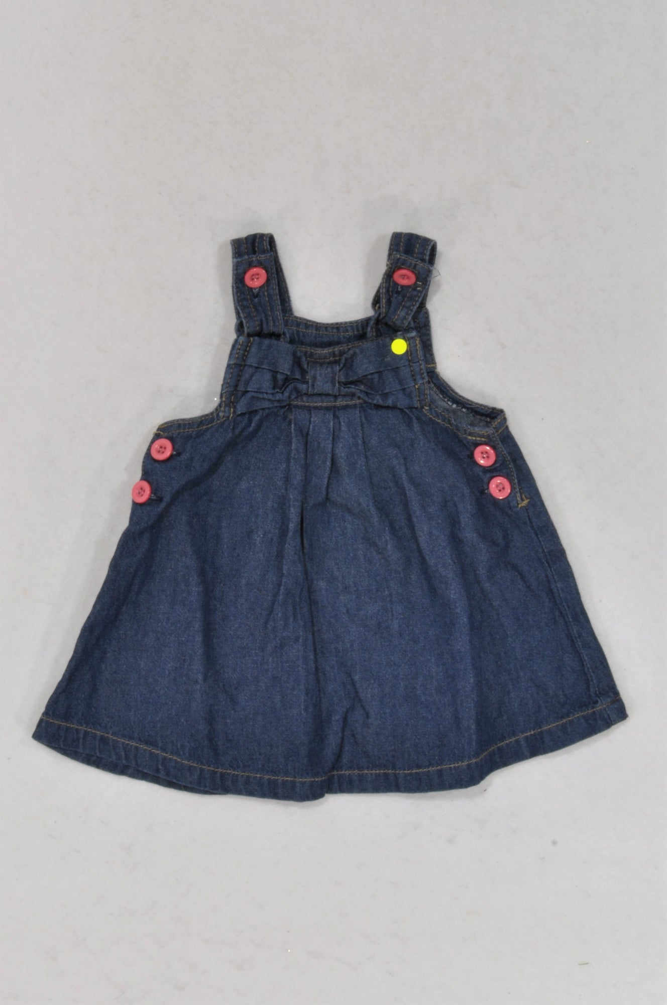 Ackermans Denim Bow Pink Button Dungaree Dress Girls 3-6 months