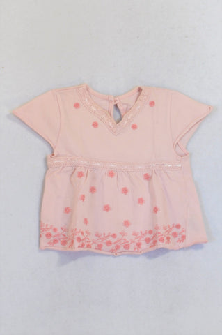 Marks & Spencers Pink Rose Embroidered Lace Inset Babydoll Top Girls 6-9 months