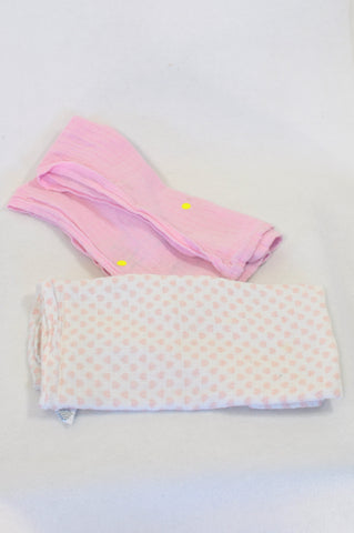 George 2 Pack Pink & Hearts Muslin Blanket Girls N-B to 2 years