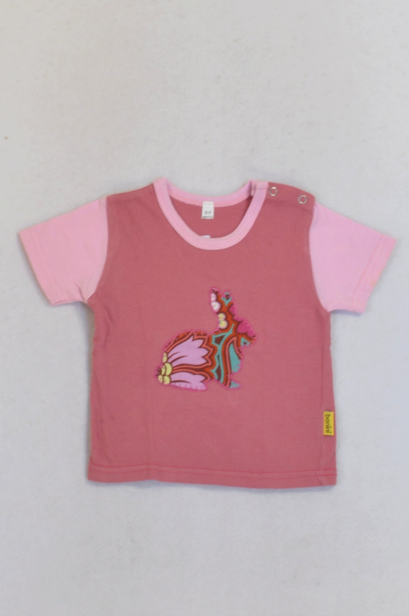 Banini Dusty Pink Embroidered Bunny T-shirt Girls 3-6 months