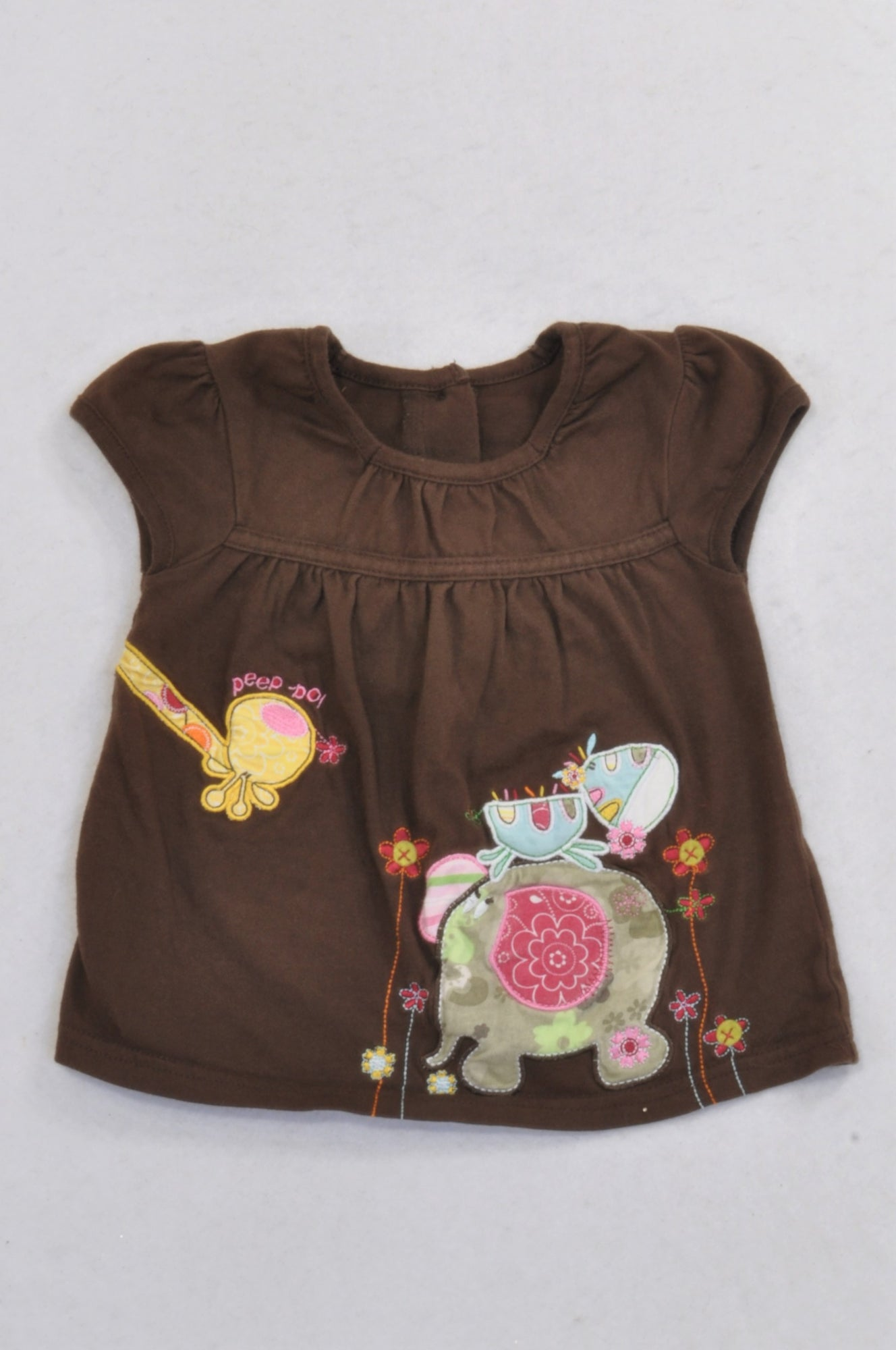 609b8e1f4897c George Embroidered Floral Safari Brown Babydoll Dress Girls 3-6 months –  Once More