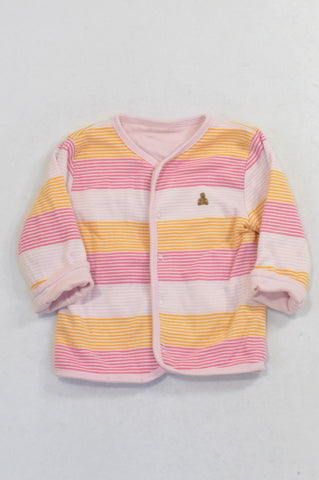 GAP Pink and Yellow Tiny Stripe Reversible Snap Cardigan Girls 6-12 months