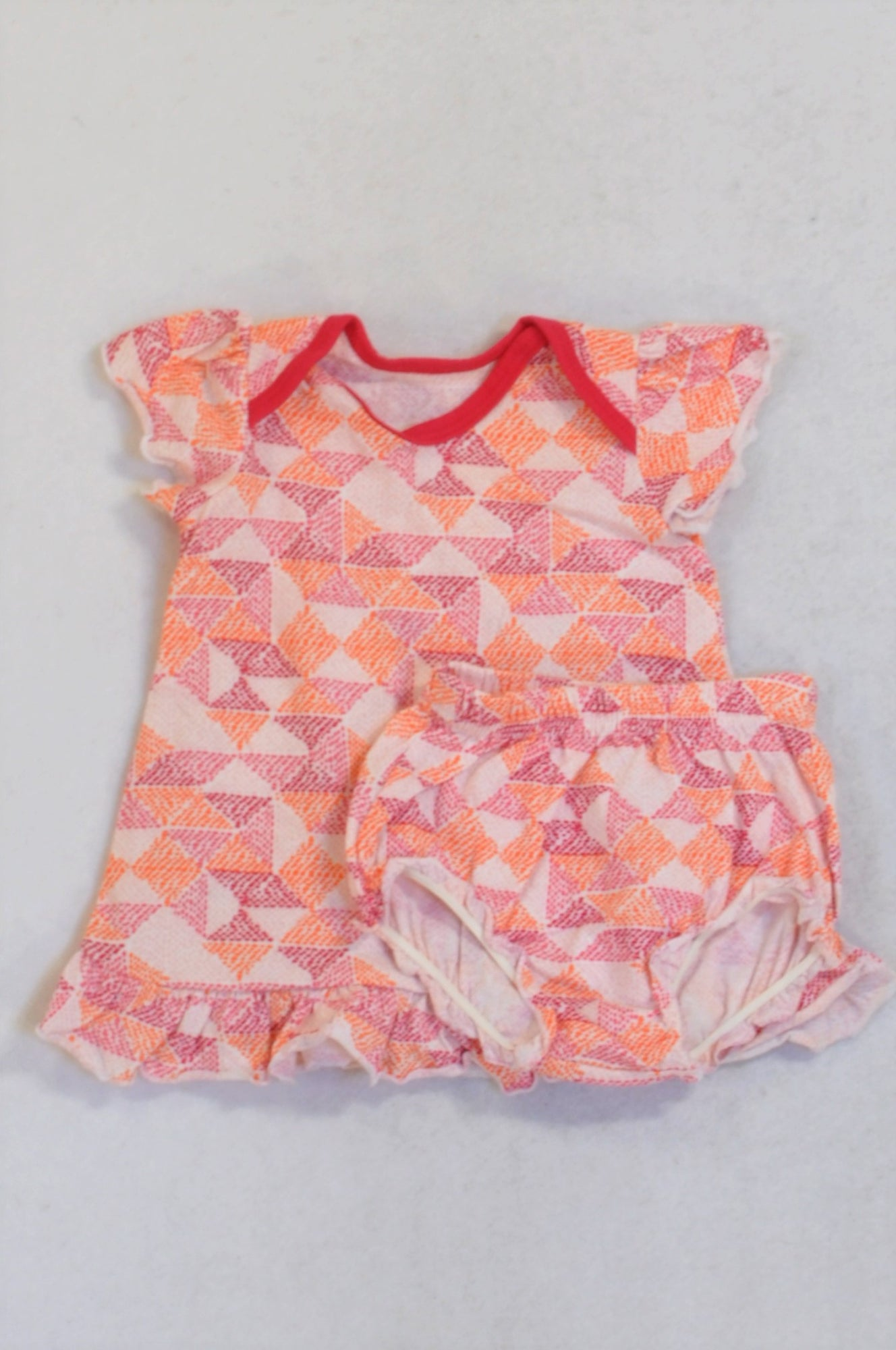 Woolworths Pink Orange Geometric Dotty Bloomers & Dress Girls 0-3 months