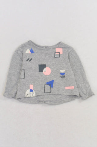 Cotton On Heathered Grey Shape Print T-shirt Girls N-B