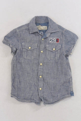 H&M Navy Houndstooth Pocket Shirt Boys 18-24 months