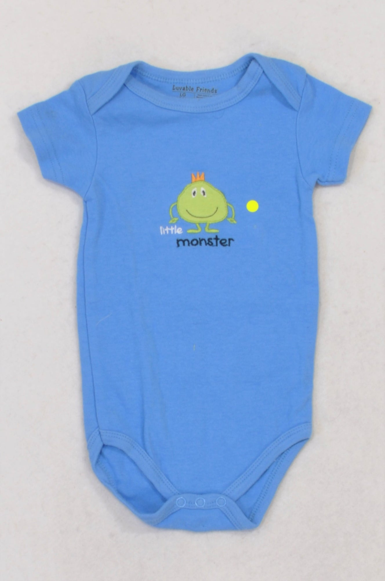 7ba3fa3b8dcf Luvable Friends Blue Little Monster Baby Grow Boys 6-9 months – Once More