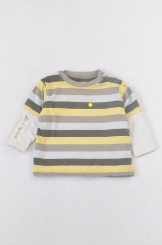 Marks & Spencers Yellow & Brown Stripe Layered T-shirt Boys 3-6 months