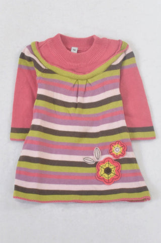 Pink & Lime Stripe Flower Patch Knit Dress Girls 0-3 months