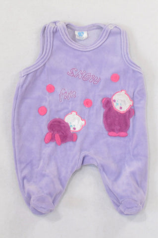 Purple Snow Fun Velour Dungarees Girls N-B