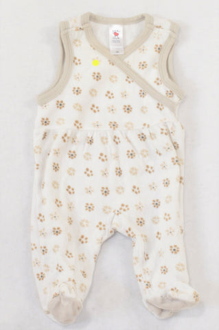 Baby Club Cream & Beige Floral Velour Dungarees Girls N-B