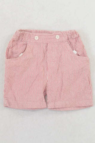 Red Pinstripe Crepe Shorts Boys 0-3 months
