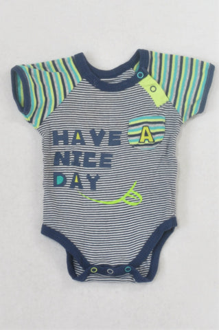 Woolworths Navy & Lime Stripe Have A Nice Day Baby Grow Boys 0-3 months