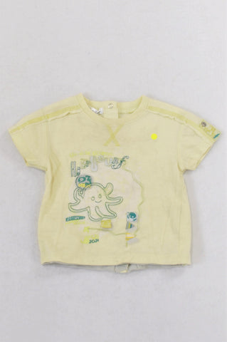 Kitchown Lime Octopus Rear Snap T-shirt Boys 3-6 months