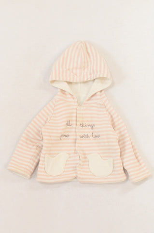 Pink & White Stripe Reversible Hooded Cardigan Girls 3-6 months