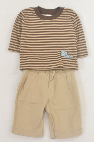 Ackermans Beige & Brown Stripe Mini Trouble Outfit Boys 0-3 months