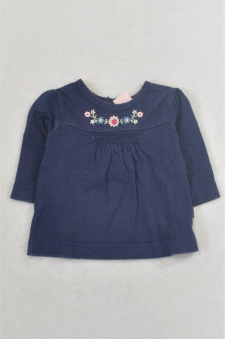 Pumpkin Patch Navy Embroidered Flower T-shirt Girls 0-3 months