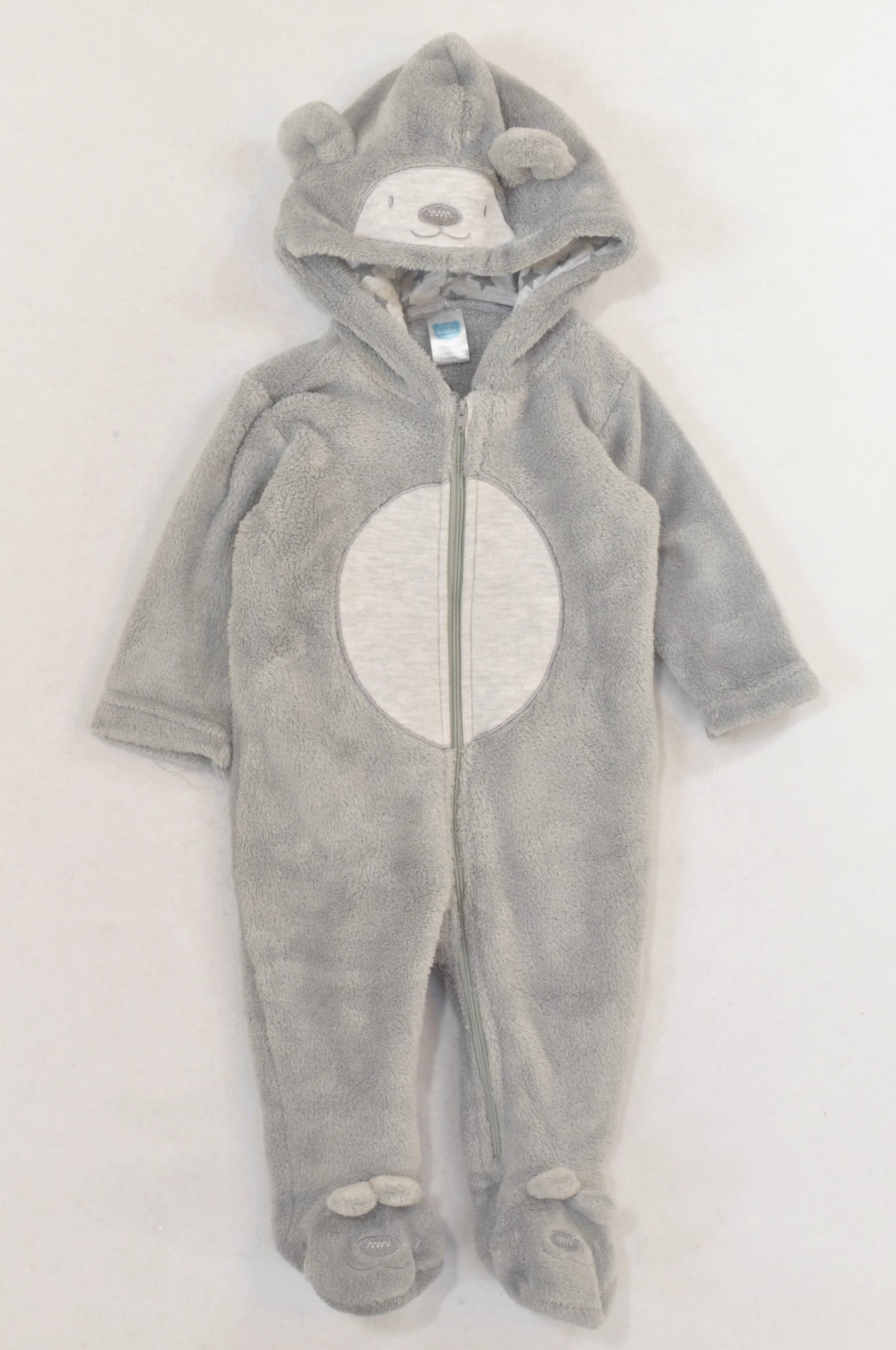 Ackermans Grey Fleece Heathered Tummy Bear Onesie Unisex 3-6 months