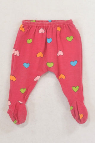 Woolworths Cerise Heart Footed Leggings Girls N-B