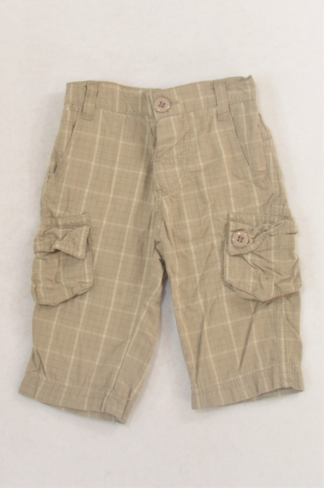 Mr. Price Beige Plaid Cargo Pants Boys 0-3 months