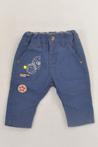 Woolworths Blue Patch Chino Style Pants Boys 3-6 months