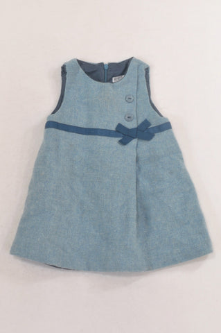 Tex Blue Tweed Ribbon Lined Dress Girls 12-18 months