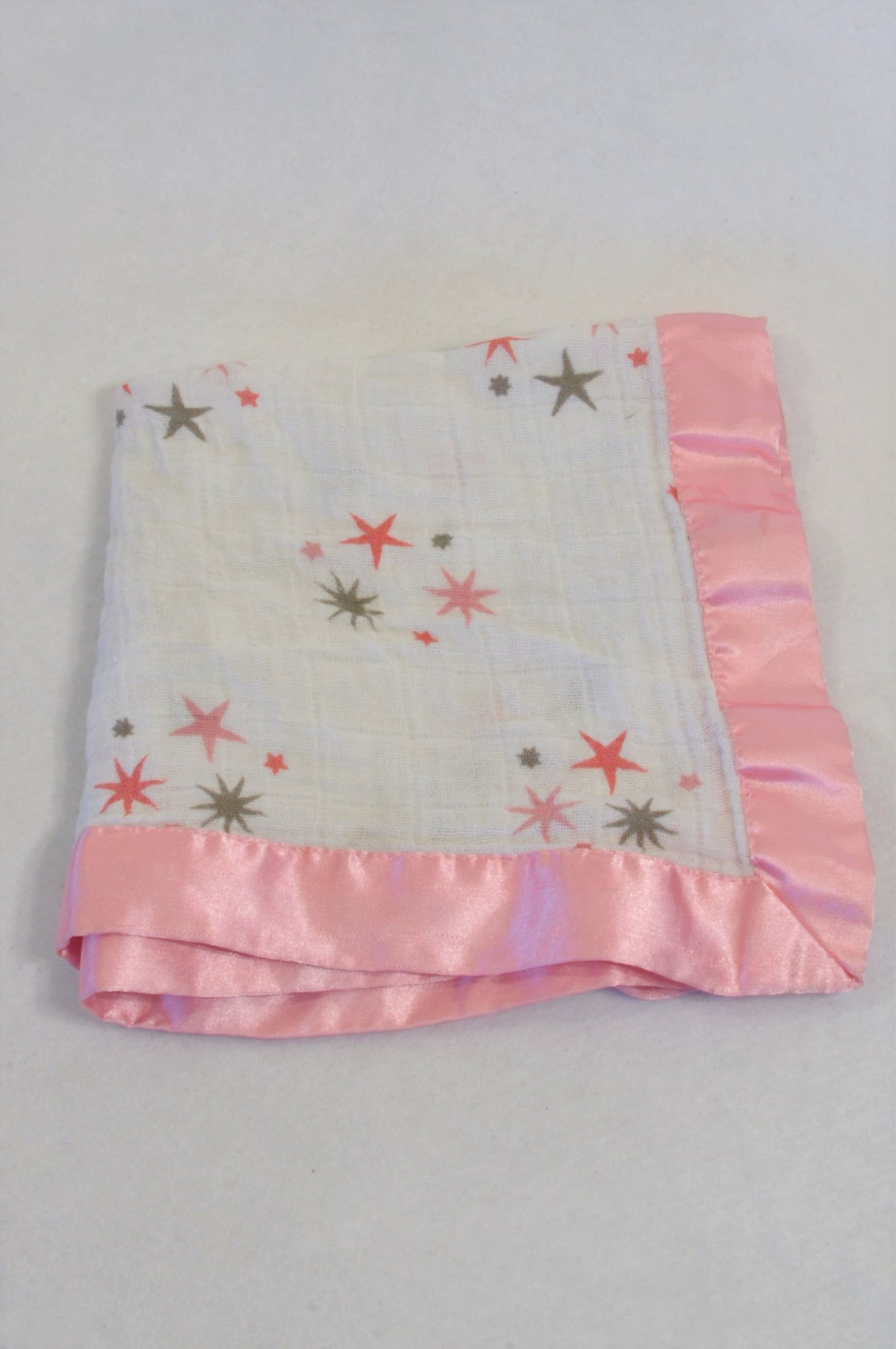 Aden + Anais Pink Trim Star Muslin Burp Cloth Girls N-B to 1 year