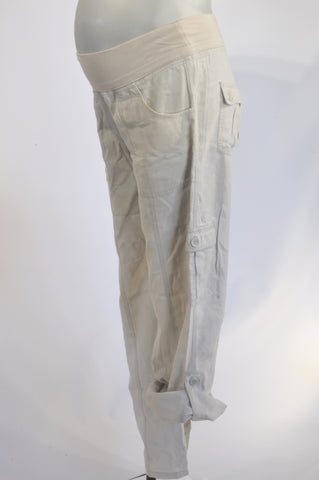 Woolworths Soft Beige Lightweight Roll Up Cargo Maternity Pants Size 12