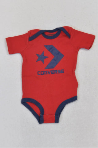Converse Logo Red & Navy Trim Baby Grow Unisex 3-6 months