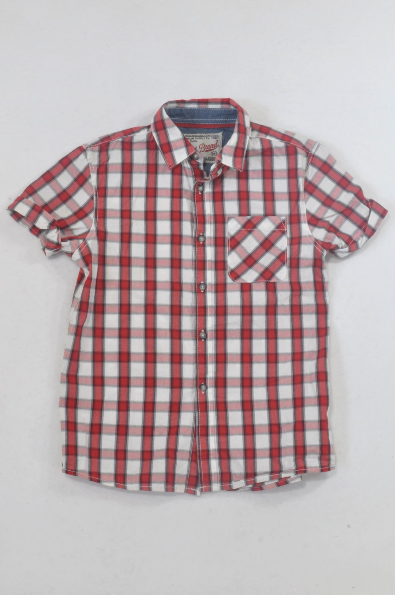 Next Red & White Check Collared Shirt Boys 8-9 years