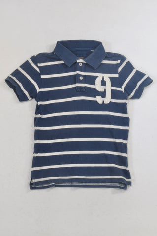H&M Navy & White Stripe Number 9 Golf Shirt Boys 7-8 years