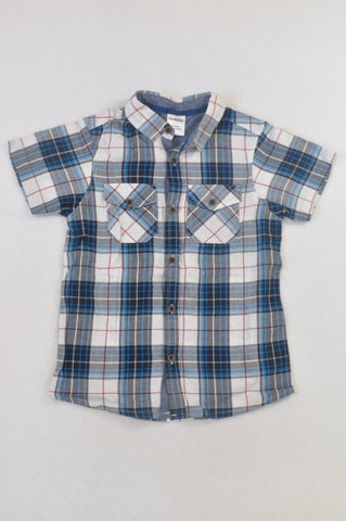 New Revolution Blue White & Red Stripe Plaid Shirt Boys 7-8 years